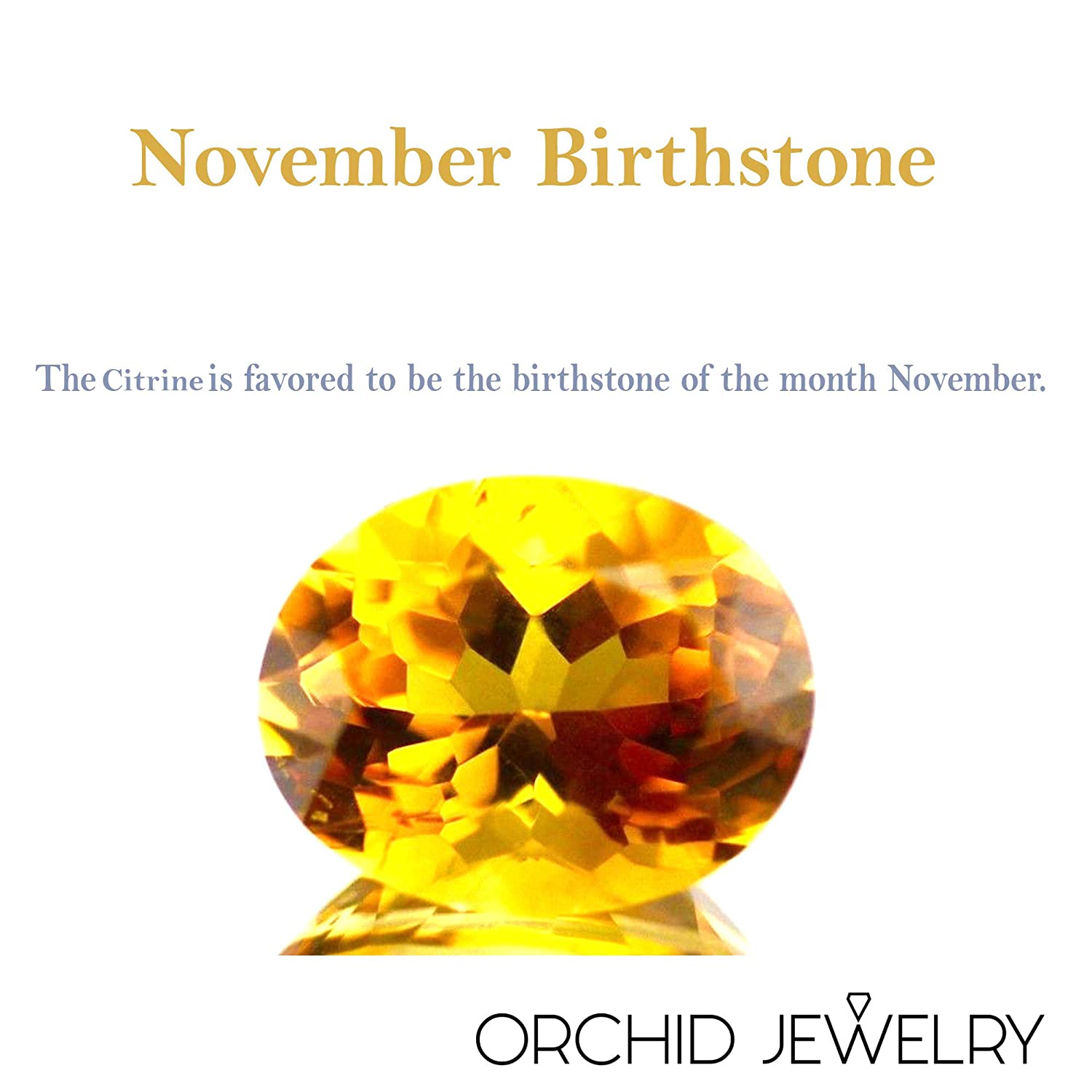 0.8 Carat Yellow Citrine Engagement Pendant by Orchid Jewelry November-Birthstones Pendant Simple Affordable. Beautiful Sterling Silver Pendant For Women