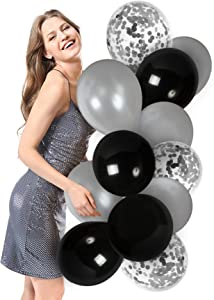 Silver Black Latex Balloons Silver Confetti Balloons 44 Pack for Birthday Retirement Party Engagement Graduation Party Decorations
