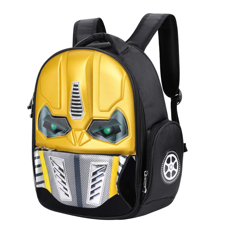 Mochila Escolar Amarillo Mochila para el Robot de ni/ños Primaria Amarillo - SHU-BAO-000018-IB-FR p/ícnic Mochila 3D para ni/ños Viaje Brillante Backpack 5-10 a/ños Colegio