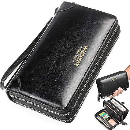 Amazon.com: Cartera grande de piel larga para teléfono móvil ...