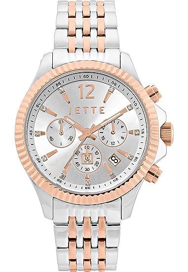 JETTE Time de mujer reloj de pulsera Cross Road analógico de cuarzo One Size, color plateado, plata/Bicolor: Amazon.es: Relojes