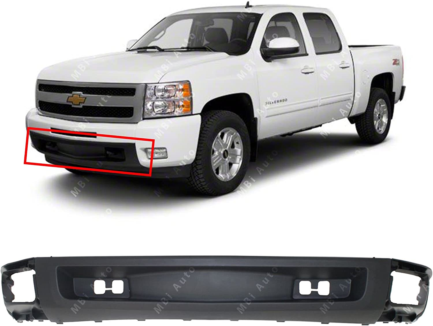 Amazon Com Mbi Auto Textured Black Lower Front Bumper Air Deflector Valance For 2007 2013 Chevy Silverado 1500 Pickup Gm1092192 Automotive