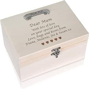De Walden - Caja de Recuerdos de Pino Personalizable para mamá, 30 40 50 60 70 80: Amazon.es: Hogar