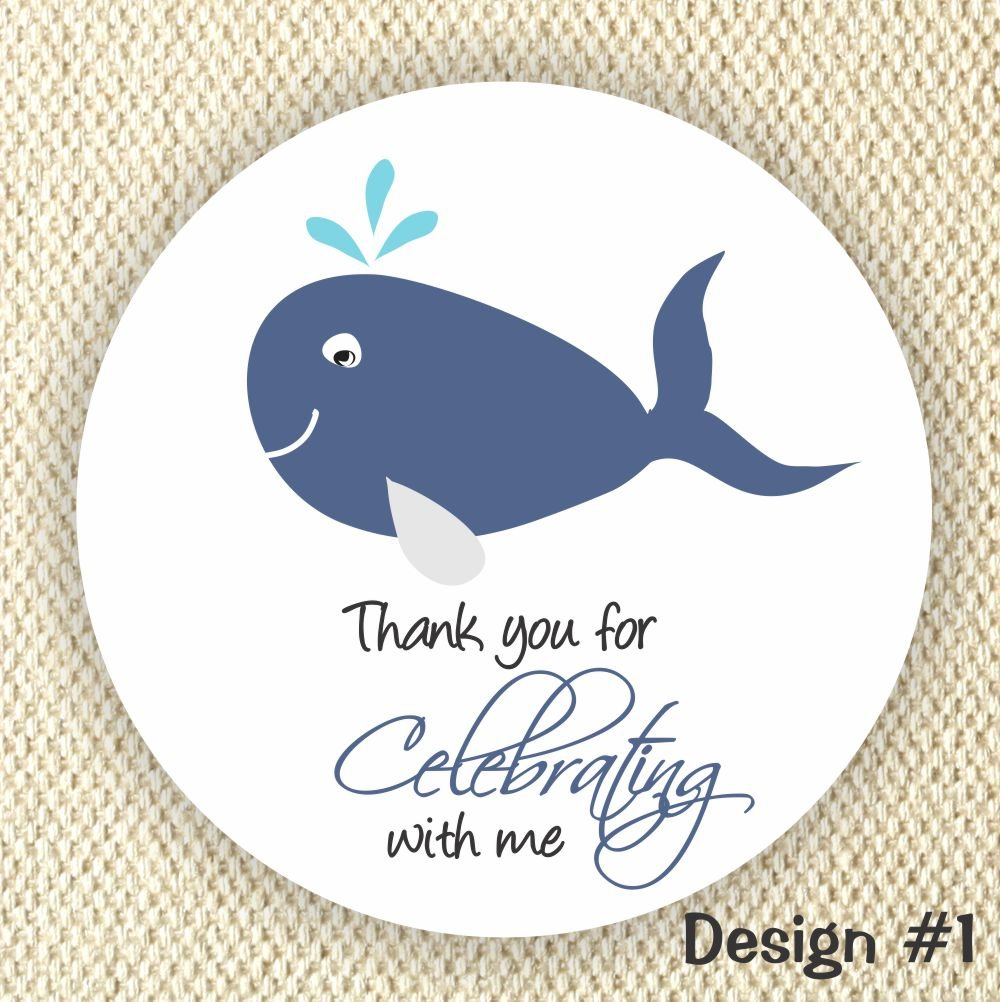 Nautical Baby Shower Whale Baby Shower Favor Sticker Labels Boy Whale Baby Shower Decorations Set of 24 Thank You Stickers