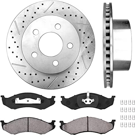 Front Brake Disc Rotors And Ceramic Pads Kit For Jeep Grand Cherokee TJ Wrangler