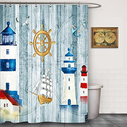 Lighthouse Bathroom Fabric Shower Curtain Sets By FOOG Vintage Map Pirateship Wheel Mildew Resistant Waterproof Machine