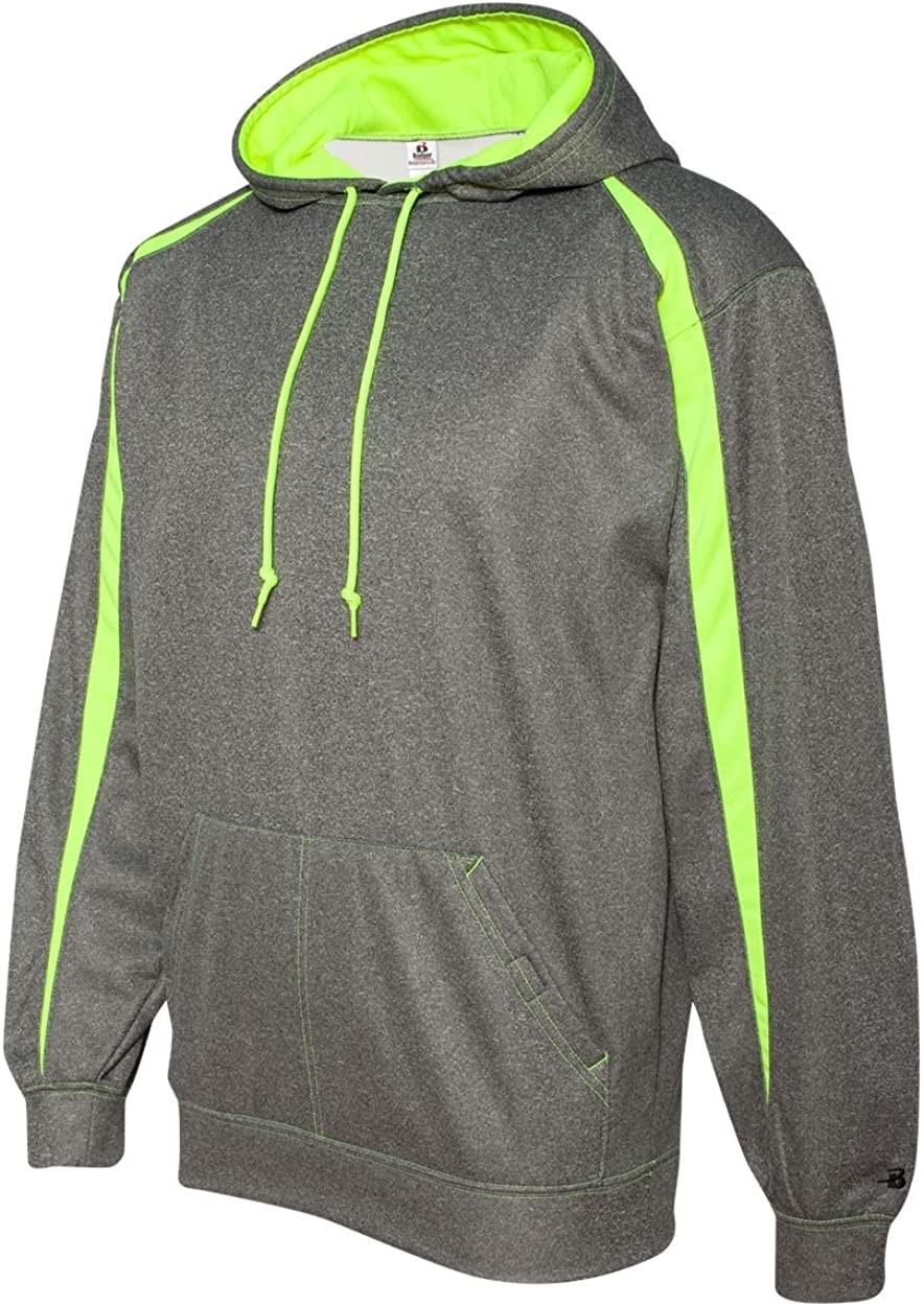 Badger Mens Fusion Colorblock Hooded Pullover-1467-MD-Steel-SftyYellow