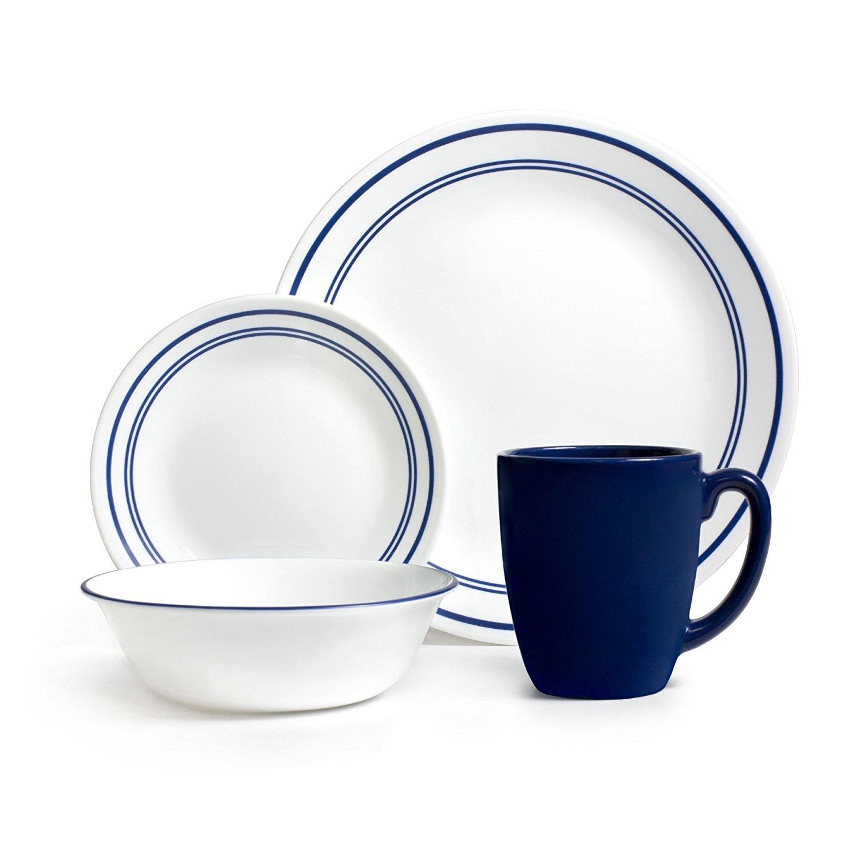Corelle 071160007222 Livingware Classic Cafe 16 Piece Dinnerware Set Color: Blue, Service for 4, Black
