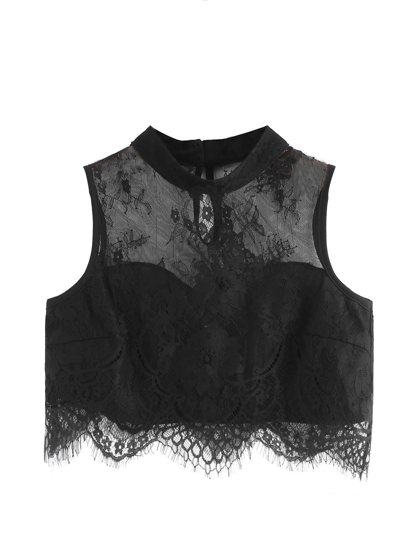 WDIRA Women's Floral Sheer Blouse Lace Sweetheart Sleeveless Crop Top Black L