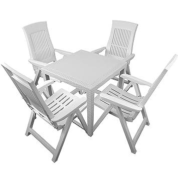 5 piezas. Juego de muebles de jardín 22130.003 ratán mesa de jardín ...