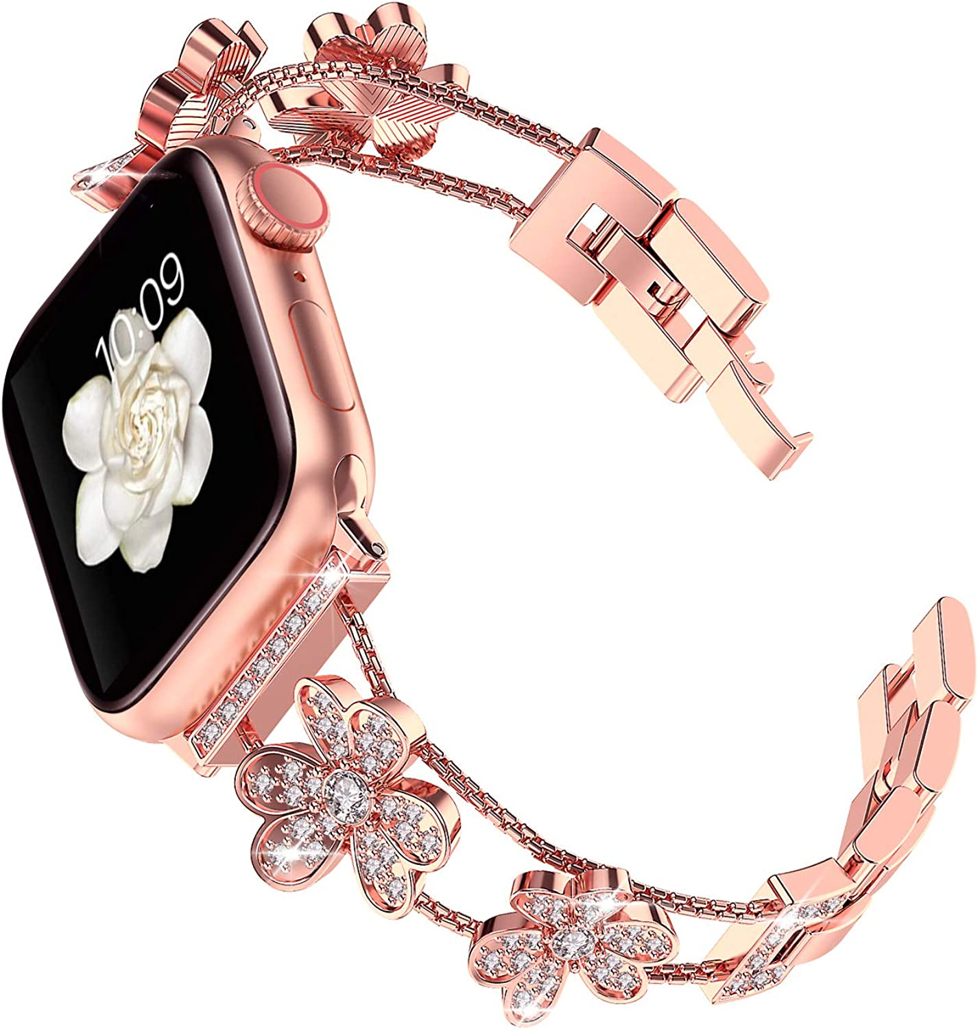 Blingbrione Bling Bands Compatible with Apple Watch 38mm 40mm 42mm 44mm Series 6/5/4/3/2/1, Steel Metal Bracelet Adjustable Buckle Clasp Link Wristband for Female Women Girls, Rose Gold Silver