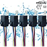 5 Pack 40/30 AMP 12 V DC Waterproof Relay and Harness - Heavy Duty 12 AWG Tinned Copper Wires, 5-PIN SPDT Bosch Style Automot