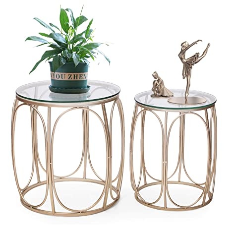 Joveco End Tables Set of 2 Coffee Table Gold Nightstands Indoor Outdoor  Decorative Round Nesting Tables (Glass Top 1)
