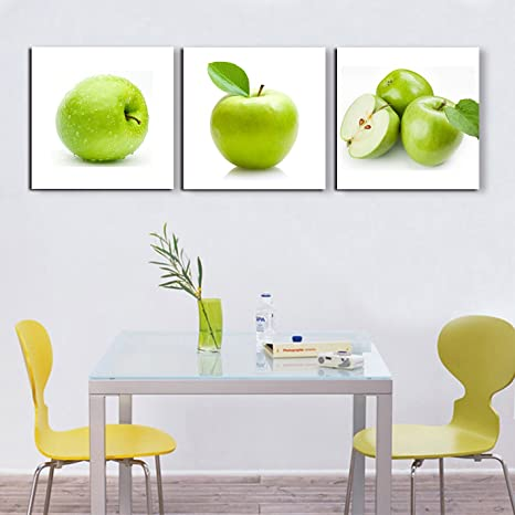 Amazon Com 3 Piece Wall Art Green Apples Canvas Fruits Design Elegant Life Prints Decor Framed Ready To Hang Modern Artwork Painting Contemporary Pictures For Kitchen Dining Home Decoration 60 Wx20 H Posters Prints