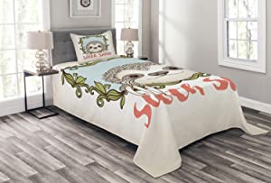 Ambesonne Sloth Bedspread, Exotic Animal in Floral Frame Sloth Smile Theme with Mammal Portrait, Decorative Quilted 2 Piece Coverlet Set with Pillow Sham, Twin Size, Olive Green
