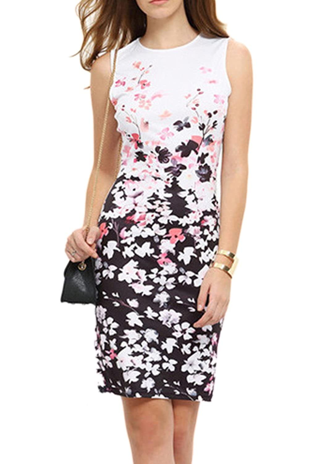 Yacun Women's Floral Sleeveless Cocktail Party Bodycon Dress CAOny0240