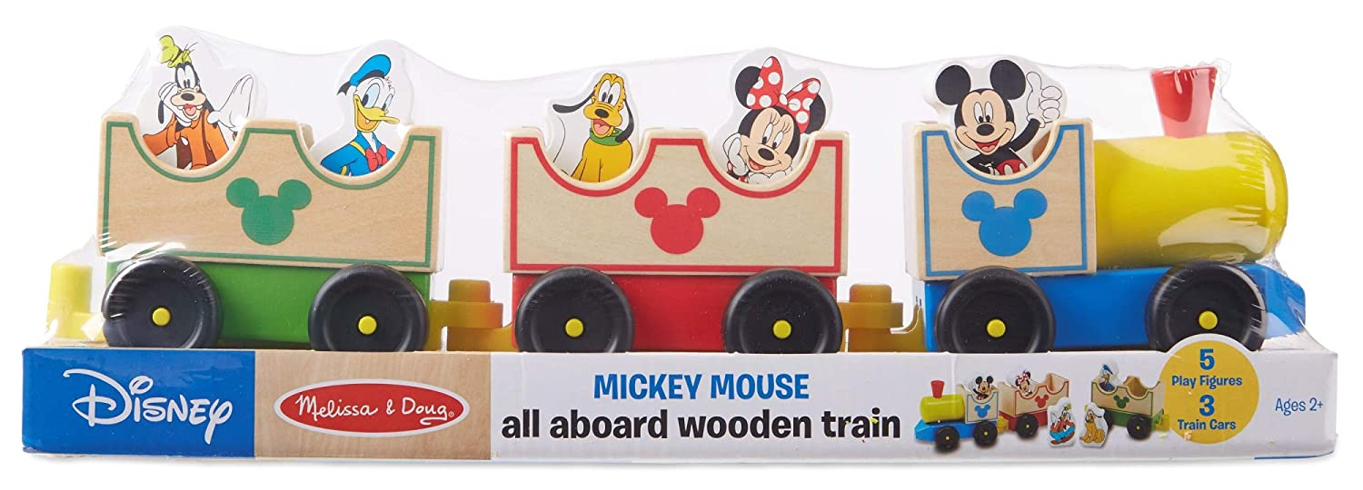 Melissa & Doug Disney Baby Mickey Mouse and Friends All Aboard Wooden Train  Toy With 3 Train Cars and 5 Characters