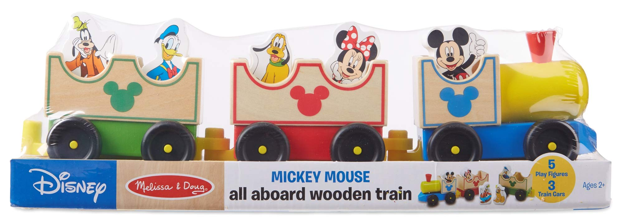 Melissa & Doug Disney Baby Mickey Mouse and Friends All Aboard Wooden Train Toy With 3 Train Cars and 5 Characters by Melissa & Doug