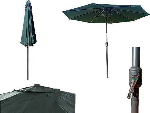 Parasol de Aluminio Verde con ventilación para terraza, Jardin de 300 cm 8 Varillas mastin Central de 48 mm (Verde): Amazon.es: Jardín