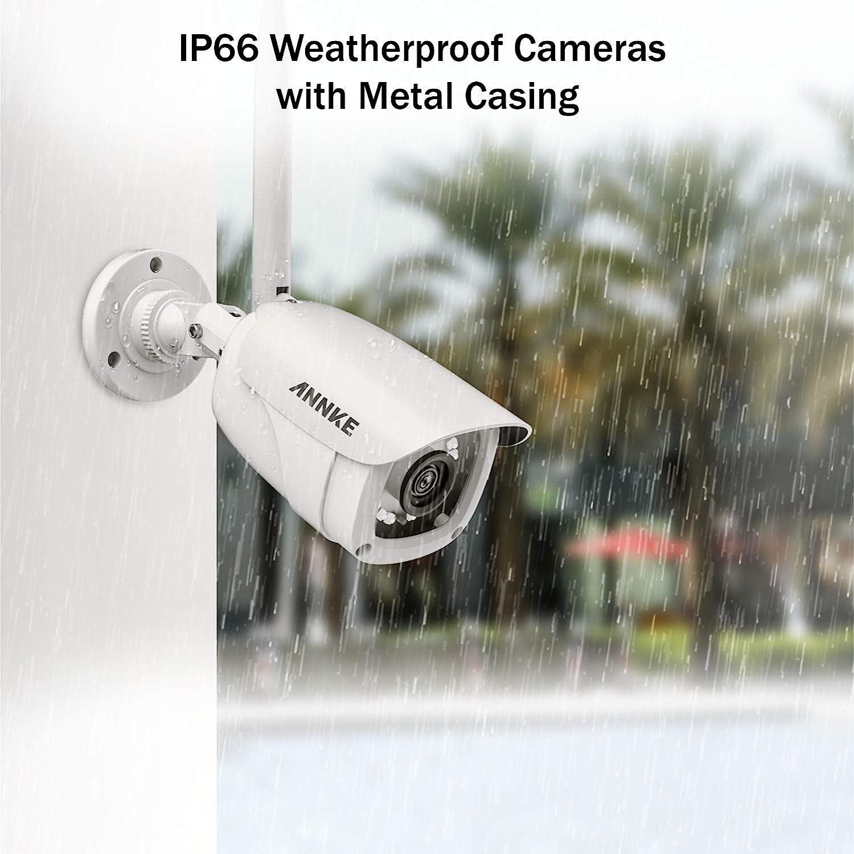 ANNKE /Überwachungskamera System 4CH 1080P 12 Zoll drahtloses NVR WiFi-Kamera-System mit Monitor und 4 x 1080P WLAN-IP Netzwerkkamera f/ür Innen und Au/ßen ohne Festplatte