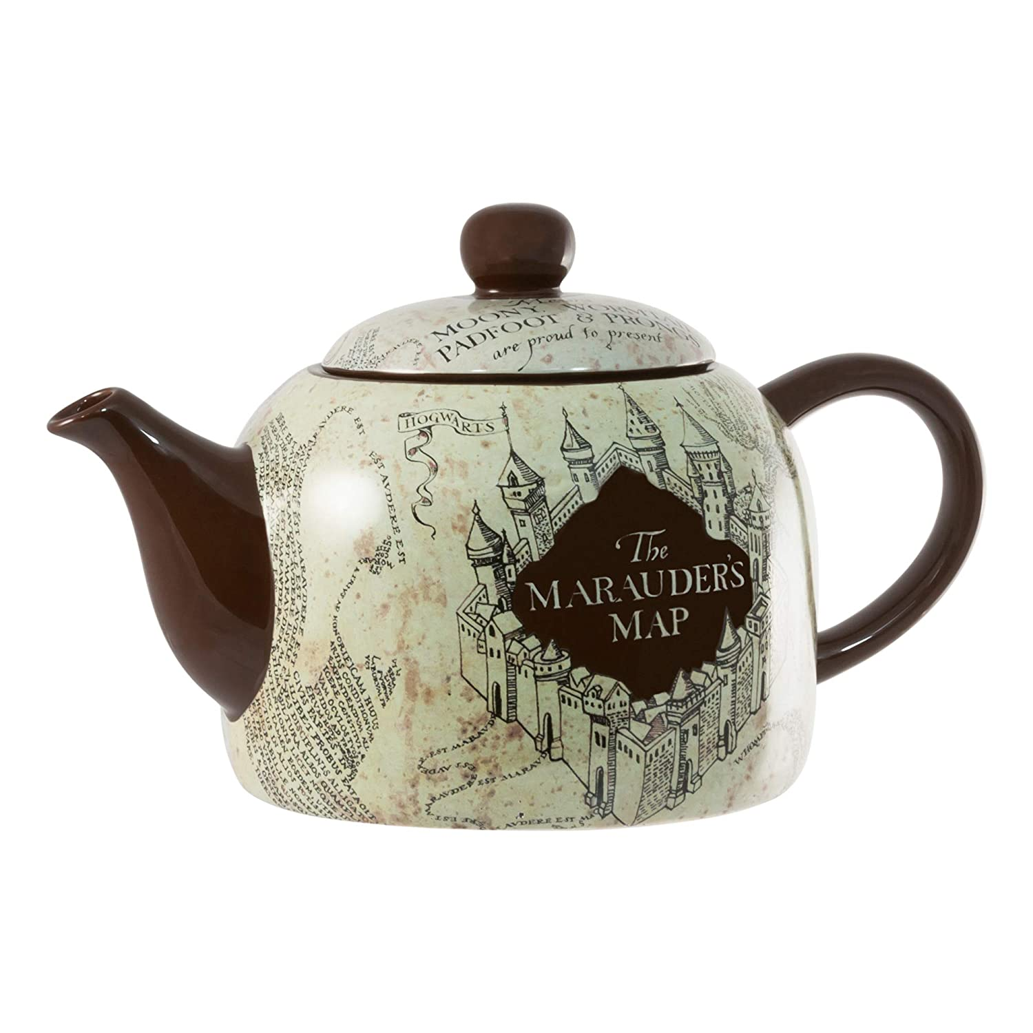seven20 HP04863 Harry Potter Marauder's Map Ceramic Teapot, Standard Size, Burgundy