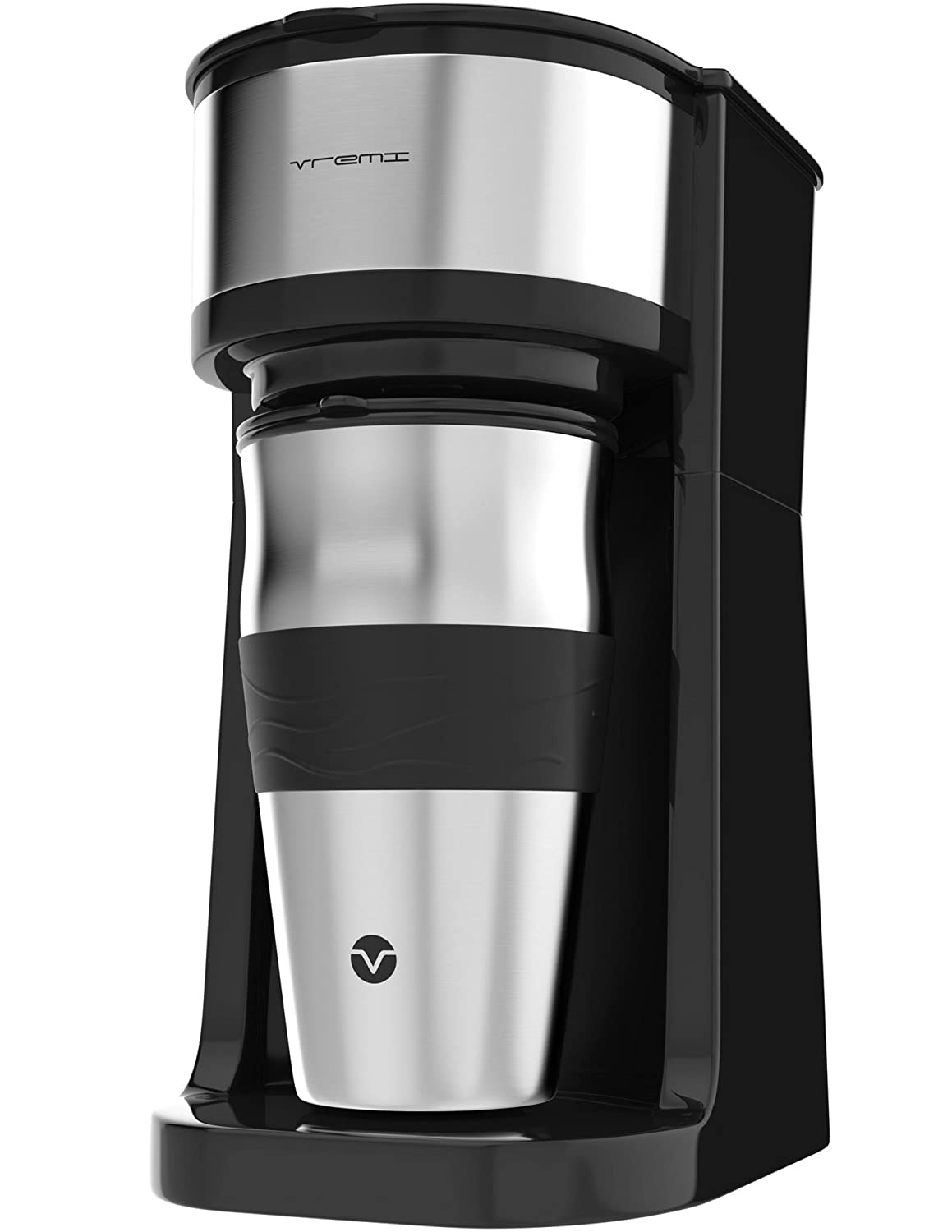 Vremi Single Cup Coffee Maker - includes 14 oz Travel Coffee Mug and Reusable Filter - Personal 1 Cup Drip Coffee Maker to Brew Ground Beans - Black and Silver Single Serve One Cup Coffee Dripper VRM010046N