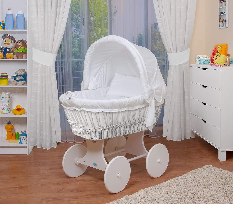 WALDIN Cuna Moisés, carretilla portabebés XXL, 26 modelos a elegir,Madera/ruedas lacado en blanco,color textil blanco
