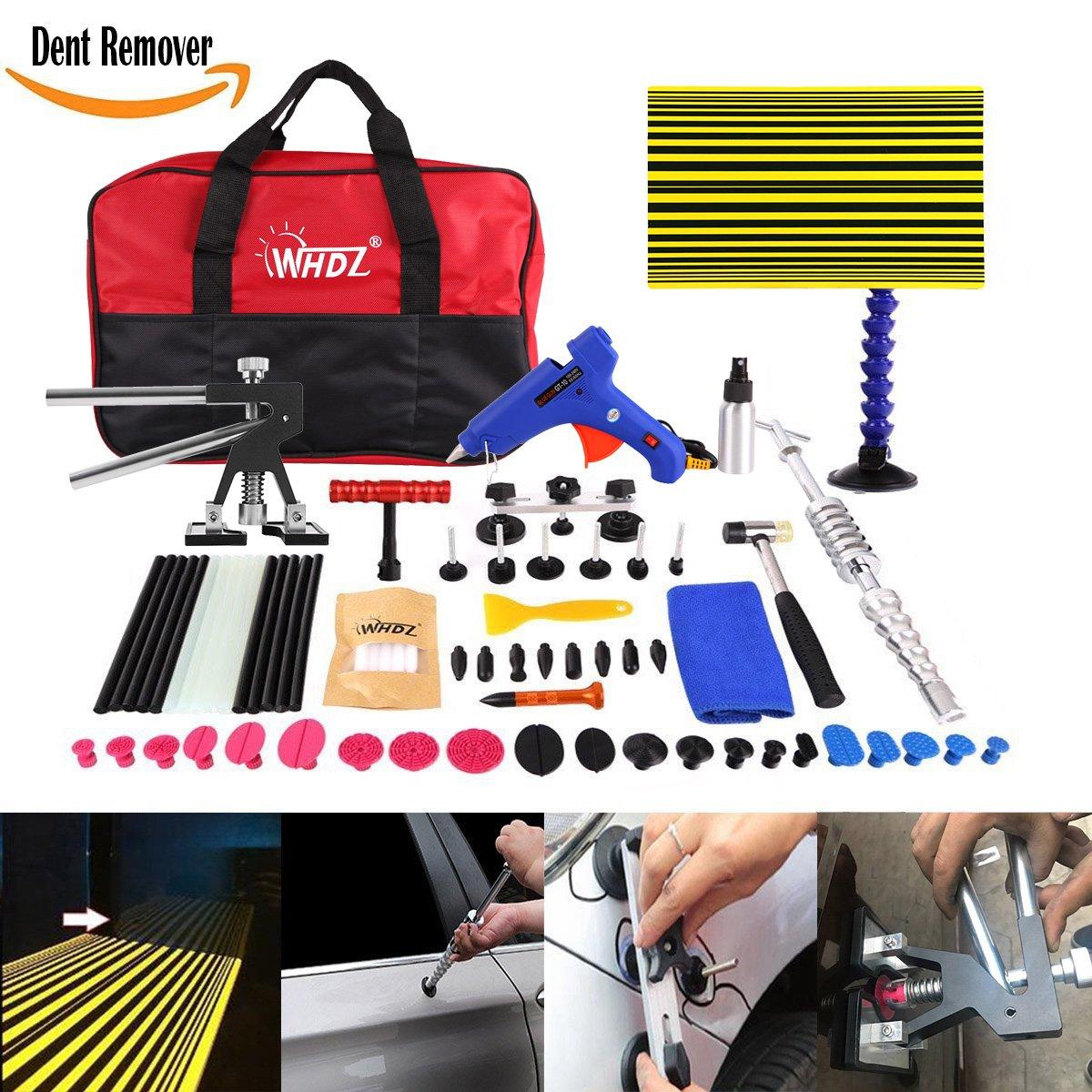 WHDZ 72Pcs Car Body Paintless Repair Removal Tools Automotive Door Ding Dent Silde Hammer Glue Puller Repair Starter Set Kits For Car Hail Damage And Door Dings Repair
