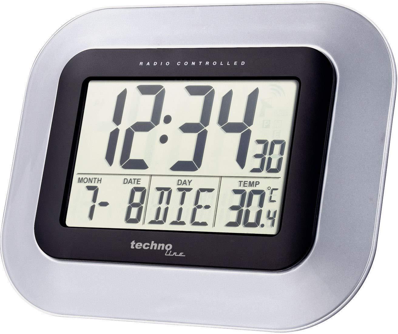 Technoline WS 8005 Reloj de Pared Plata/negro (plata con baterías): Amazon.es: Hogar
