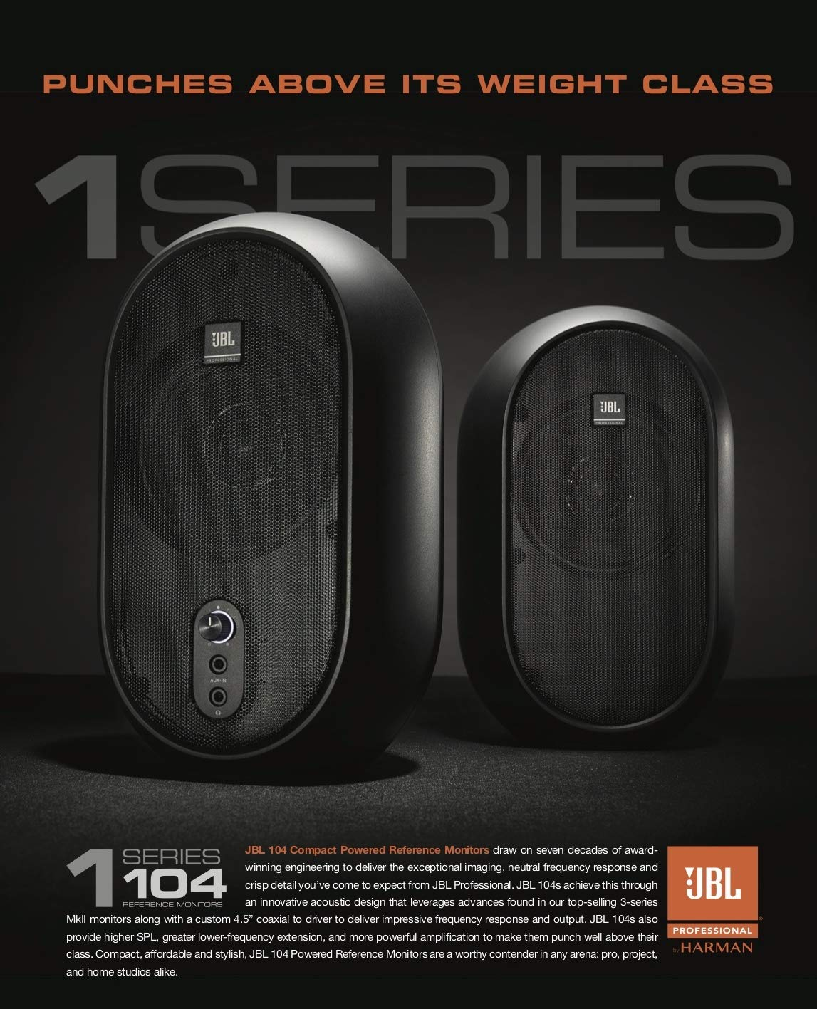 JBL Professional 1 Series, 104 Compact Powered Desktop Reference Monitors (sold as pair), Black (JBL104) by JBL Professional (Image #4)