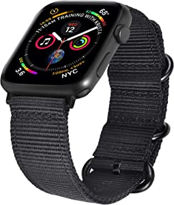VIGOSS Nylon Band Compatible with Series 4 Apple Watch Bands 44mm/42mm Softer NATO Woven Replacement for iWatch Series 3 2 1 with Black Stainless Steel Buckle Men