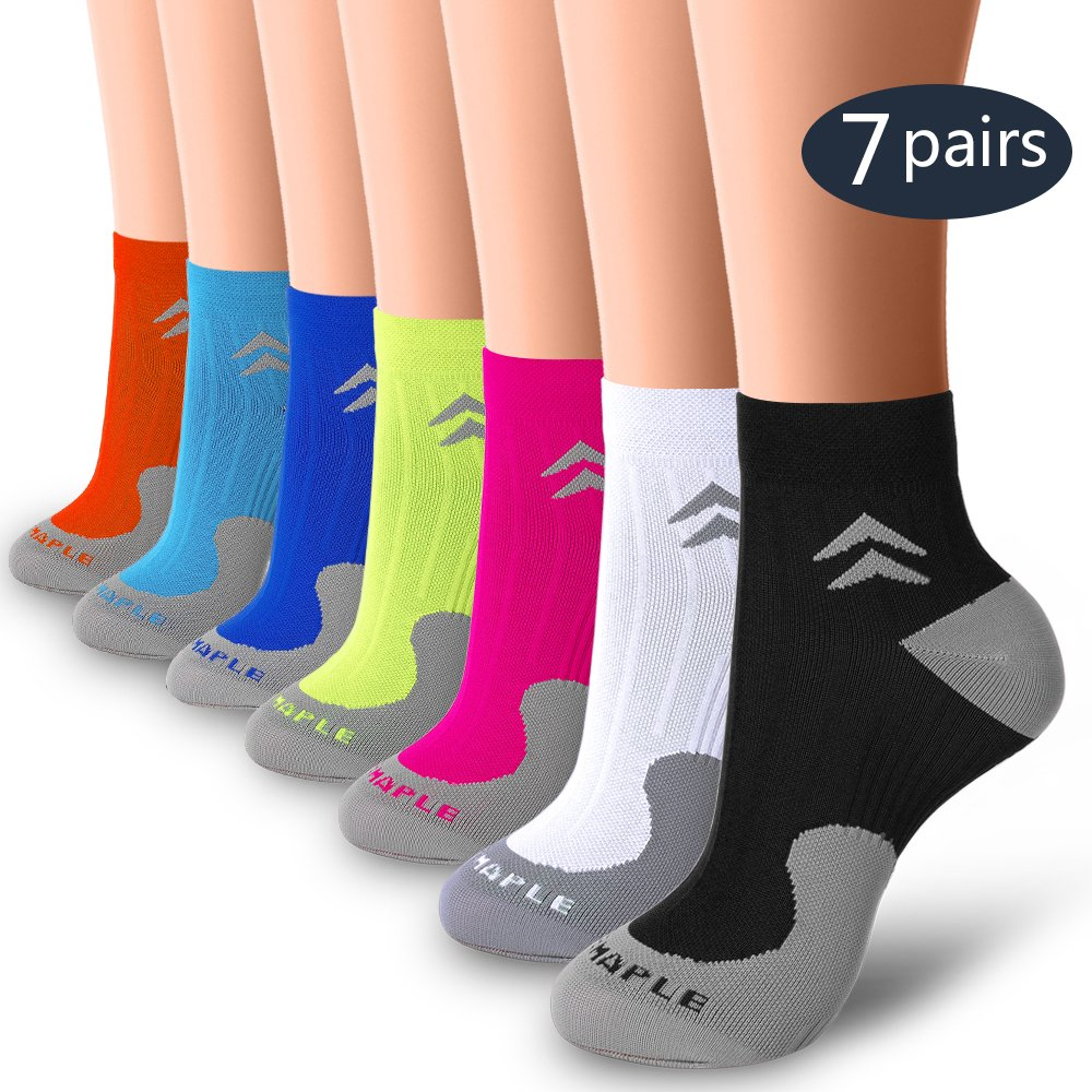 BLUEMAPLE 7 Pair Compression Socks for Women and Men, Compression Ankle Socks, Regular wear, Fashion wear -Say Goodbye to Your Pain(7pack-S/M)
