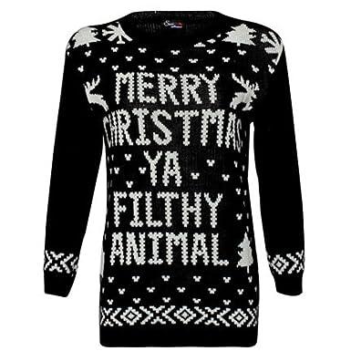 eb88d6eaf96749 New Unisex Women's Men's Merry Christmas Ya Filthy Animal Xmas ...