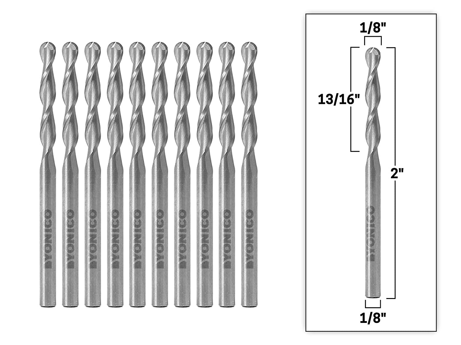 Yonico 34201 SC 10PK 1 8 Inch Dia. 2 Flute Ball Nose Spiral End Mill CNC Router Bit 10 Pack 1 8 Inch Shank