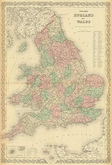 Amazoncom  Colton 1881 Antique Map of England  Wales  Wall