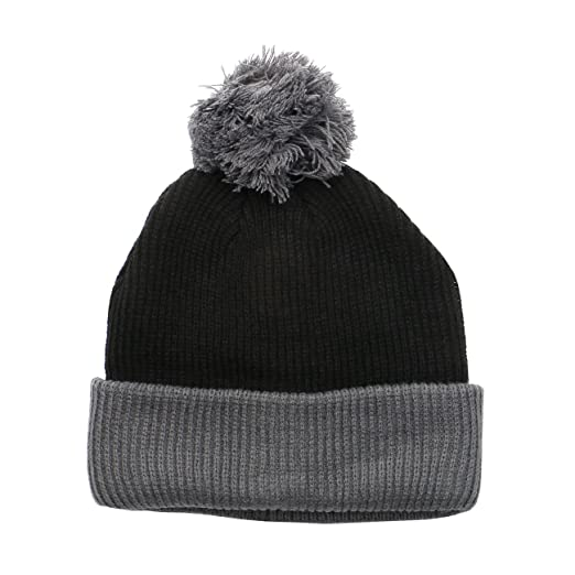 2422290d2c2 1611MAIN The Two Tone Thick Knitted Winter Cuffed Pom Beanie (Black Dark  Grey)