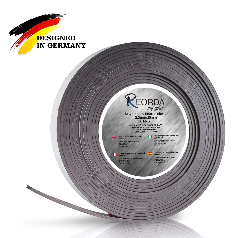 Reorda - Nastro magnetico autoadesivo con varie possibilità di utilizzo, listello magnetico ultra forte con strisce adesive, tagliabile individualmente, nastro magnetico