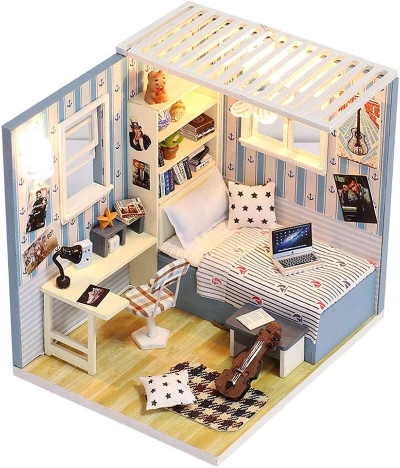 ROBOX Dollhouse Miniatures Kits DIY 1/24 Scale Mini Romantic Bedroom Crafts Model Hand-Assembled Little House Birthday New Year Gifts for Kids with Furniture and Accessories