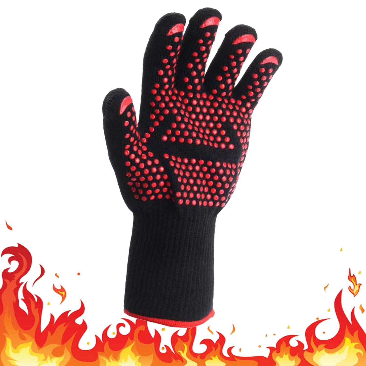Amy Sport Extreme Heat Resistant BBQ Gloves Fireproof Up to 932°F Value 1 Pcs or 1 Pair, Food Grade Non-Slip Silicone Kitchen Cooking Oven Mitts for Grilling Baking Welding Cutting (1 Pcs)