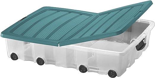 Jumbo cubrecama – Cómoda 60L apilables Box Bajocama con ruedas juguete caja caja caja almacenamiento caja almacenamiento: Amazon.es: Hogar