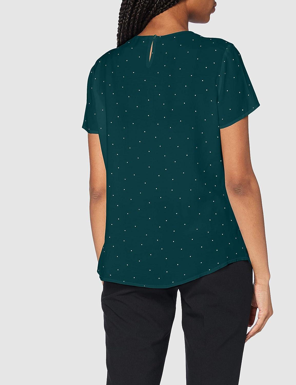 Silkesklistermärke dam blus – modeblus – skjortblus – rund hals – Regular Fit – kort ärm – 100% viskos grönvit