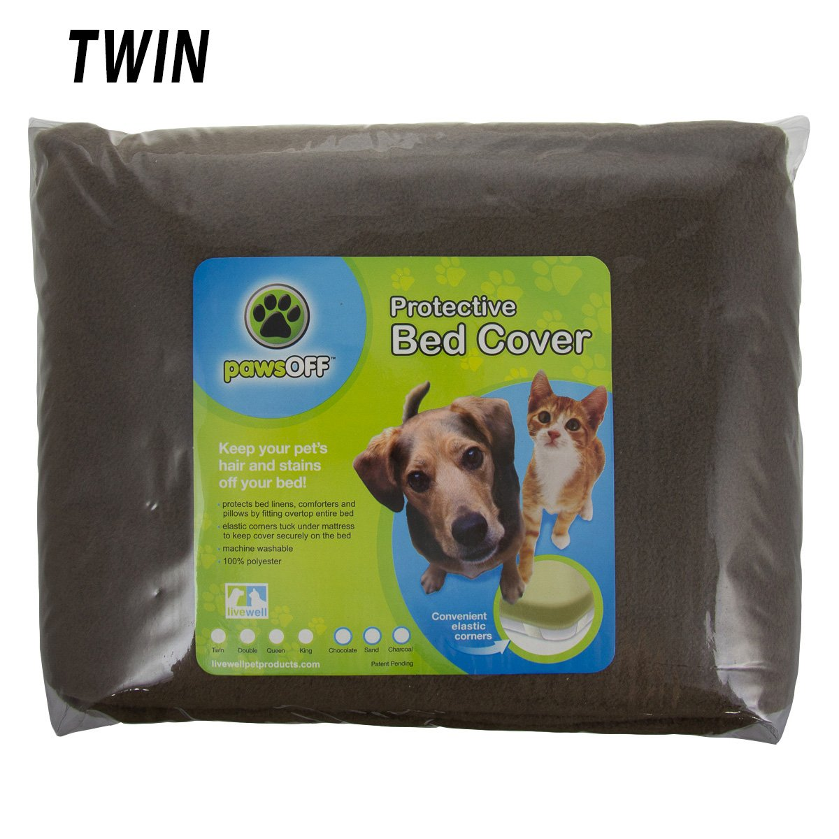 Paws Off Fleece Protective Bed Cover - Chocolate Color fits Twin Size Bed