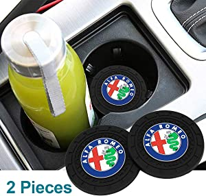 Wall Stickz car Sales 2.75 Inch Diameter Oval Tough Car Logo Vehicle Travel Auto Cup Holder Insert Coaster Can 2 Pcs Pack (fit alfa Romeo)