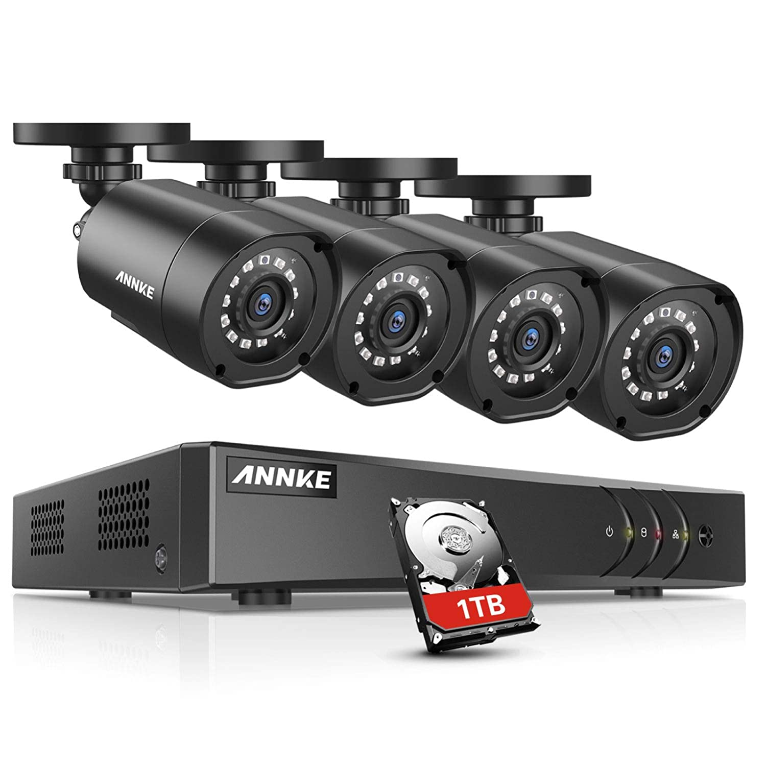 ANNKE 8 Channels 1080P HD-TVI Security Camera System with 1TB Surveillance  HDD and 4x 1080P Weatherproof Bullet Camera, Convenient Email Alert with