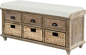Knocbel Home Collection Storage Bench, Solid Wood Cabinet with Removable Cushion, 3 Woven Baskets & 3-Drawer, Fully Assembled, 42.1