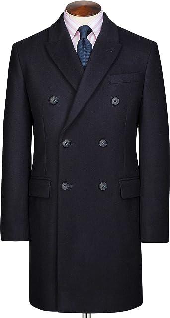 Manteau Epsom à double boutonnage laine italienne et cachemire Bleu marine