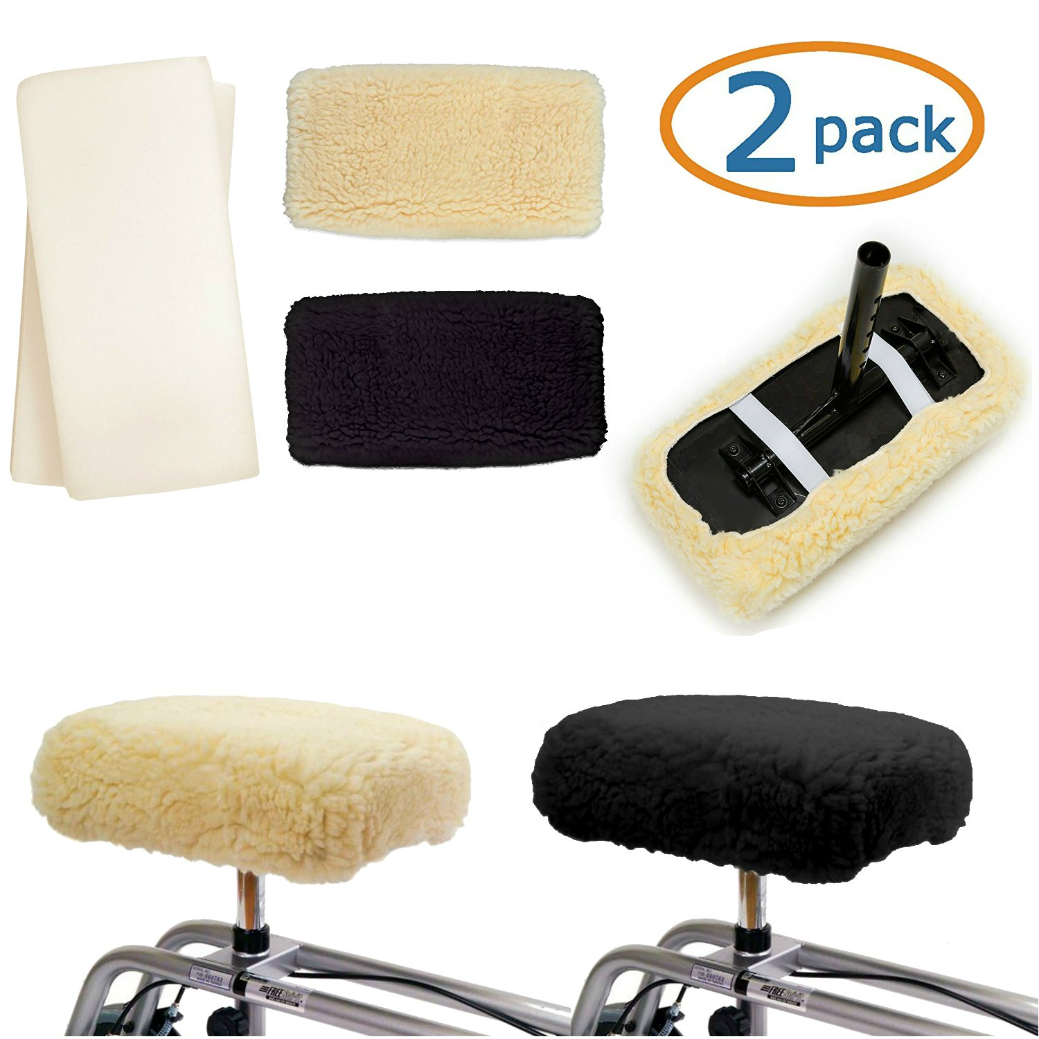 Knee Walker Cushion Covers 2 Pack for Knee Scooter for Injured Leg Universal Knee Scooter Pad Cover Faux Sheep Skin Knee Walker Seat Pads Covers for Rolling Scooter Includes 2 Extra Foam Inserts by Kitchen Krush