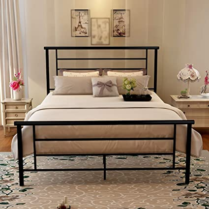 new arrival 170de a4088 Metal Queen Bed Frame Platform Iron Bed with Headboard & Footboard Support  Box Spring Black Mattress Foundation Double Size (Queen, Black)
