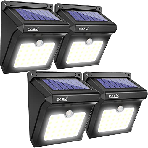 BAXiA Focos Solares Exterior, 28 LED Luz Solar Jardín, Luces de Exterior con Sensor