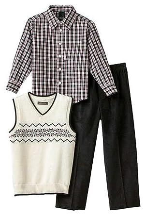 8fd04f3151 Amazon.com  Van Heusen Boys 3-Piece Outfit White Sweater Vest Plaid ...
